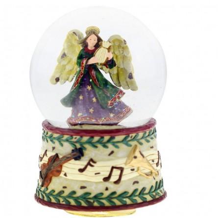 Boule de neige ange avec harpe, socle instrument de musique et notes