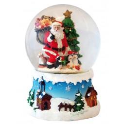 Boule de neige Père Noël avec pingouins