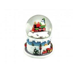 Boule de neige locomotive avec bonhomme de neige