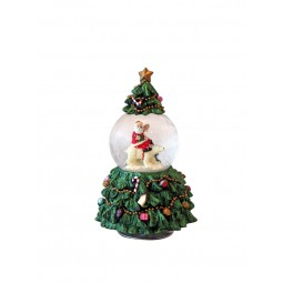 Sapin de Noël avec boule de neige
