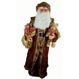 Personnage Père Noël grandeur natur, revêtu d'un  manteau de brocart