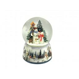 Boule bonshommes de neige avec neige et paillettes