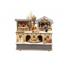 Boîte à musique en bois marché de Noël