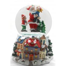 Boule de neige Père Noël avec enfants