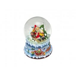 Boule de neige bleue Père Noël et enfants
