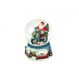 Boule de neige bleue Père Noël et moto