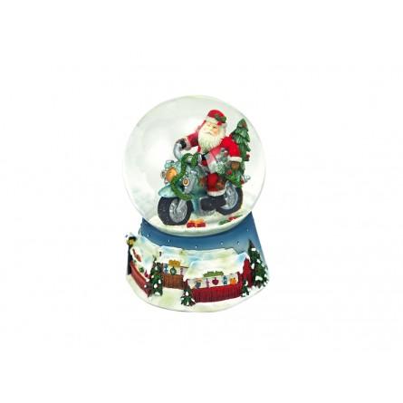 Boule de neige bleue Père Noël sur sa moto