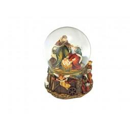 Boule enfant Jésus dans la paille avec paillettes
